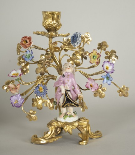 Lighting  - Pair of porcelain and gilt bronze candlesticks