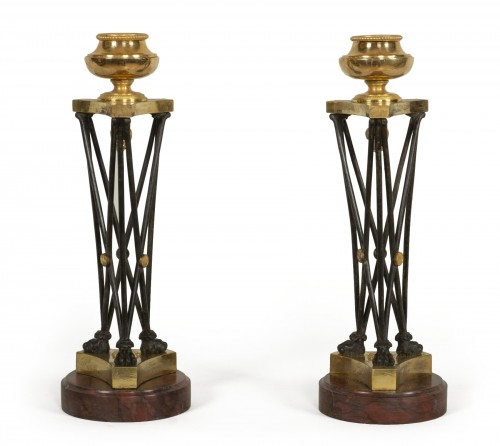 "Pair of Directoire ""en athénienne"" candlesticks"