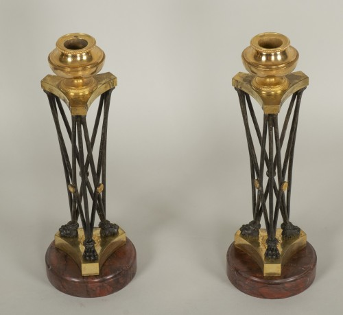 "Pair of Directoire ""en athénienne"" candlesticks - Lighting Style Directoire"