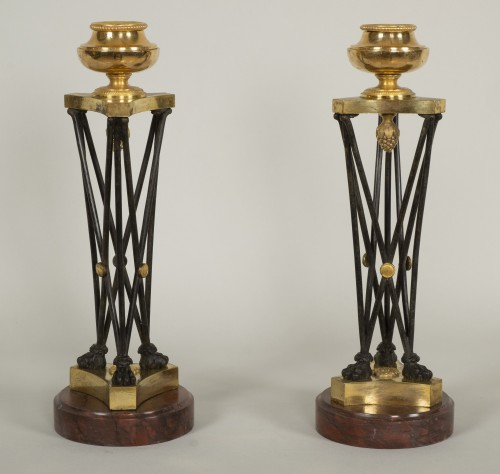 "Lighting  - Pair of Directoire ""en athénienne"" candlesticks"