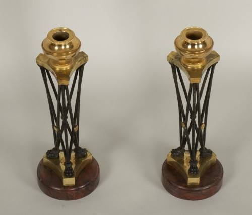"Pair of Directoire ""en athénienne"" candlesticks -"