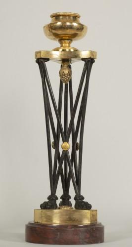 """Antiquités - Pair of Directoire """"en athénienne"""" candlesticks"""