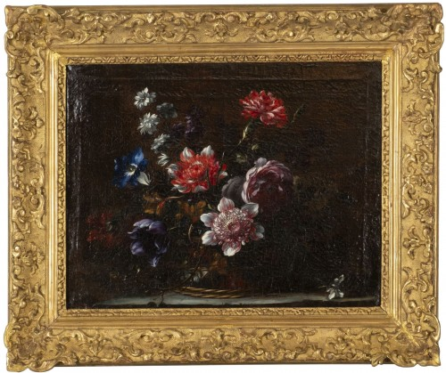 Basket of flowers on an entablature attributed to JB Dubuisson