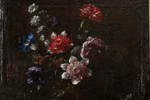 Basket of flowers on an entablature - attributed to JB Dubuisson - Paintings & Drawings Style