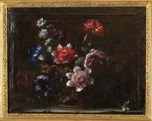Paintings & Drawings  - Basket of flowers on an entablature - attributed to JB Dubuisson