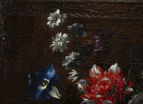 Basket of flowers on an entablature - attributed to JB Dubuisson -