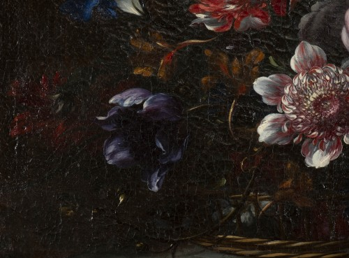18th century - Basket of flowers on an entablature - attributed to JB Dubuisson