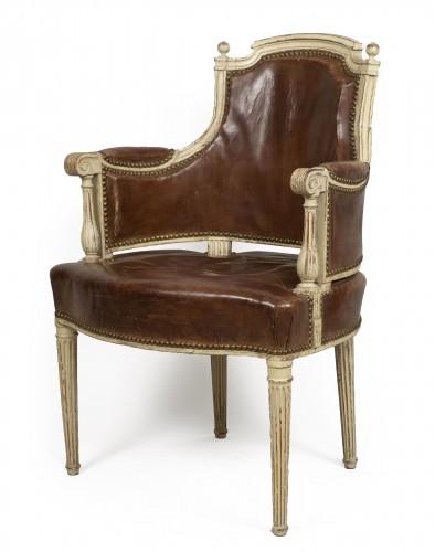 Louis XVI lacquered wood fauteuil de bureau stamped F.C.Menant
