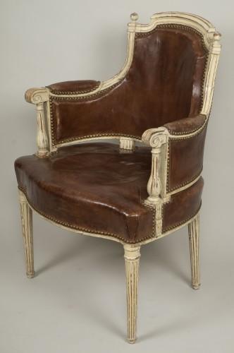 Louis XVI lacquered wood fauteuil de bureau stamped F.C.Menant -