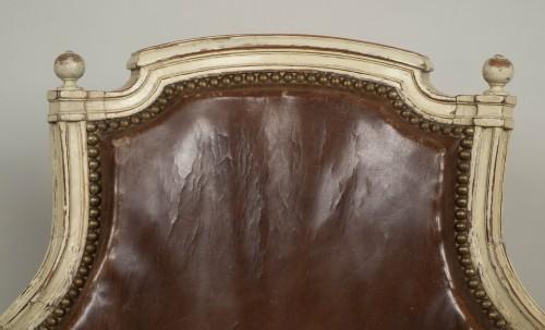 18th century - Louis XVI lacquered wood fauteuil de bureau stamped F.C.Menant