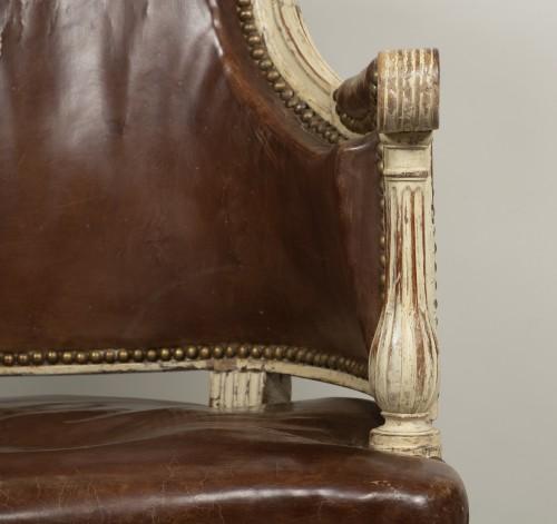 Louis XVI - Louis XVI lacquered wood fauteuil de bureau stamped F.C.Menant
