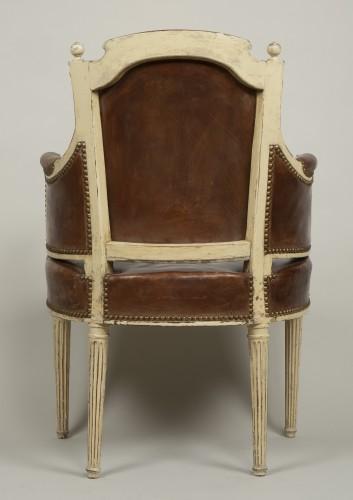 Antiquités - Louis XVI lacquered wood fauteuil de bureau stamped F.C.Menant