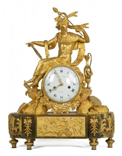 Gilt bronze clock depincting Bacchus and his thyrse