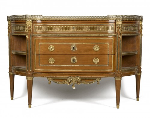 Commode à encoignures en acajou d'époque Louis XVI Attribuée à C.C. SAUNIER