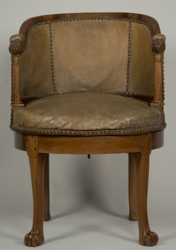 Spinning blond mahogany chair with leather - Seating Style Empire