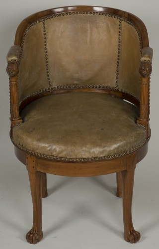 19th century - Spinning blond mahogany chair with leather