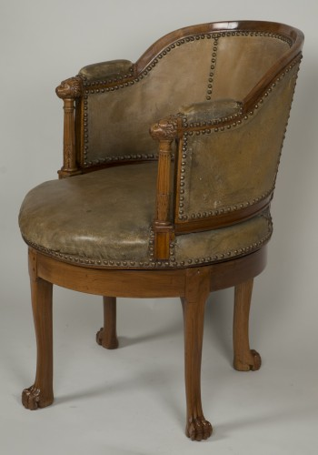 Spinning blond mahogany chair with leather - Empire