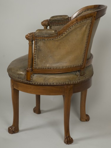 Empire - Spinning blond mahogany chair with leather