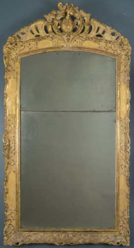 18th century - Gilt wood mirror, first half of the 18th century