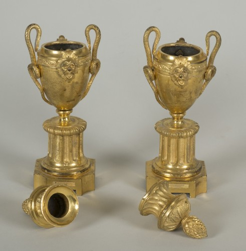 Pair of Louis XVI urn cassolettes -