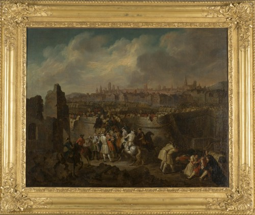 Siege and storming of Bergen op Zoom pair of oil on canvas by J. Bernaert