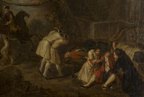 Siege and storming of Bergen op Zoom pair of oil on canvas by J. Bernaert -