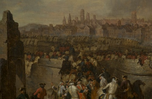 18th century - Siege and storming of Bergen op Zoom pair of oil on canvas by J. Bernaert