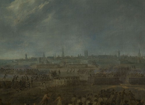 Antiquités - Siege and storming of Bergen op Zoom pair of oil on canvas by J. Bernaert