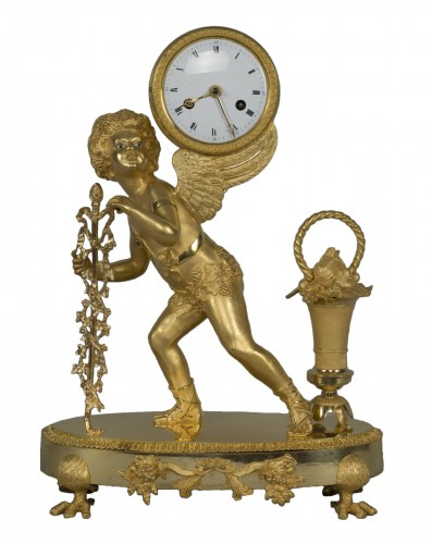 Gilt Bronze Clock depicting Cupid