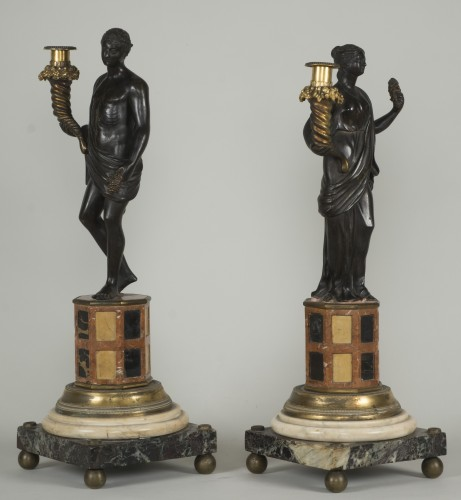Lighting  - Pair of 18th century Italian candelabras