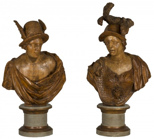Pair of busts depicting Mercury and Minerva, German work from the 18th century