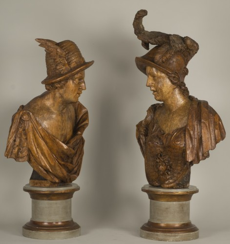 Pair of busts depicting Mercury and Minerva, German work from the 18th century - Sculpture Style