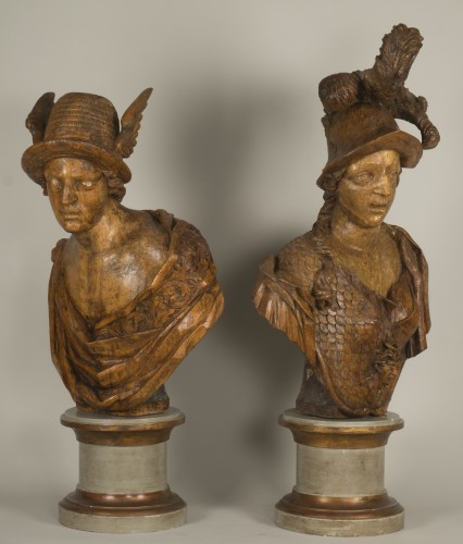 Sculpture  - Pair of busts depicting Mercury and Minerva, German work from the 18th century