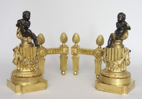 Antiquités - Pair of Louis XVI andirons