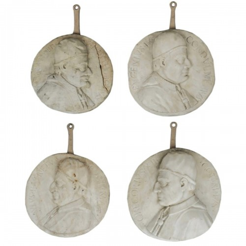 Set of 4 white marble from Carrara medallions depicting popes