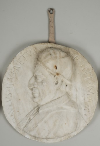 Sculpture  - Set of 4 white marble from Carrara medallions depicting popes
