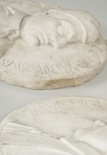 18th century - Set of 4 white marble from Carrara medallions depicting popes