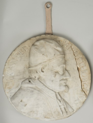 Antiquités - Set of 4 white marble from Carrara medallions depicting popes