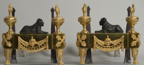 Pair of French Empire andirons - Architectural & Garden Style Empire