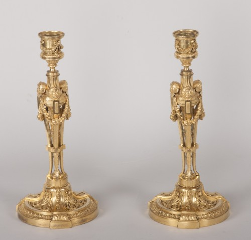 Antiquités - Pair of candlesticks after a model by Martincourt