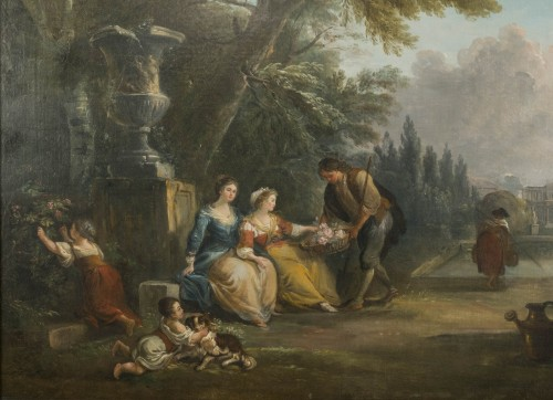 Gift of Flowers in a Park of a Castle by Jean Baptiste Lallemand - Paintings & Drawings Style