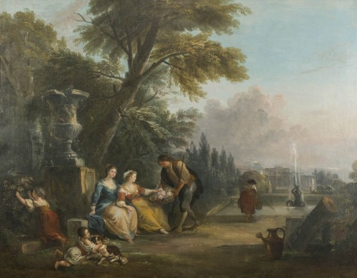 Paintings & Drawings  - Gift of Flowers in a Park of a Castle by Jean Baptiste Lallemand