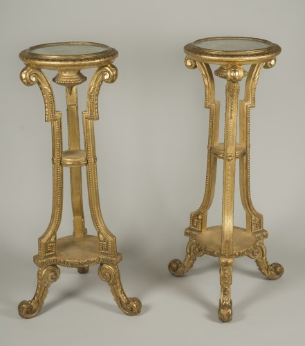 Pair of giltwood and stucco stands - Furniture Style