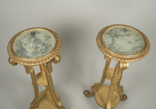 18th century - Pair of giltwood and stucco stands