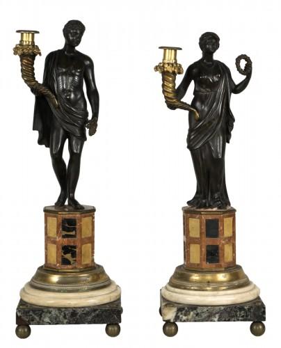 Pair of 18th century Italian candelabras