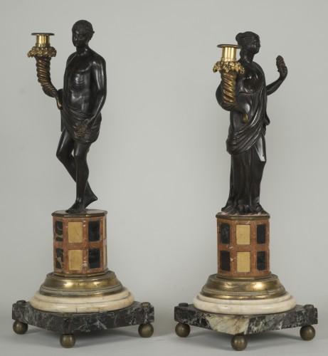 Lighting  - Pair of 18th century Italian candelabras
