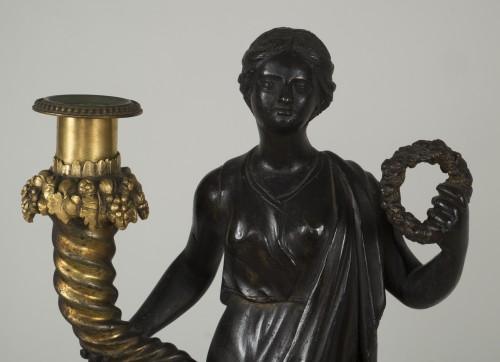 - Pair of 18th century Italian candelabras