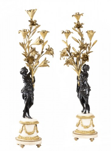 Pair Of Candelabra In Carrara Marble And Bronze circa 1800