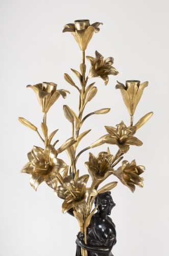 Pair Of Candelabra In Carrara Marble And Bronze circa 1800 - Lighting Style