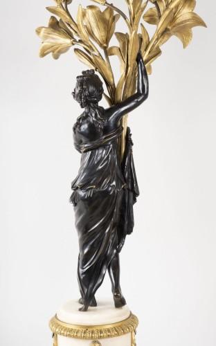 - Pair Of Candelabra In Carrara Marble And Bronze circa 1800